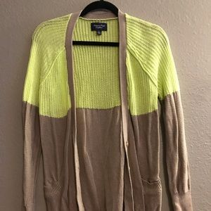 Neon Green and Khaki Button Up Sweater
